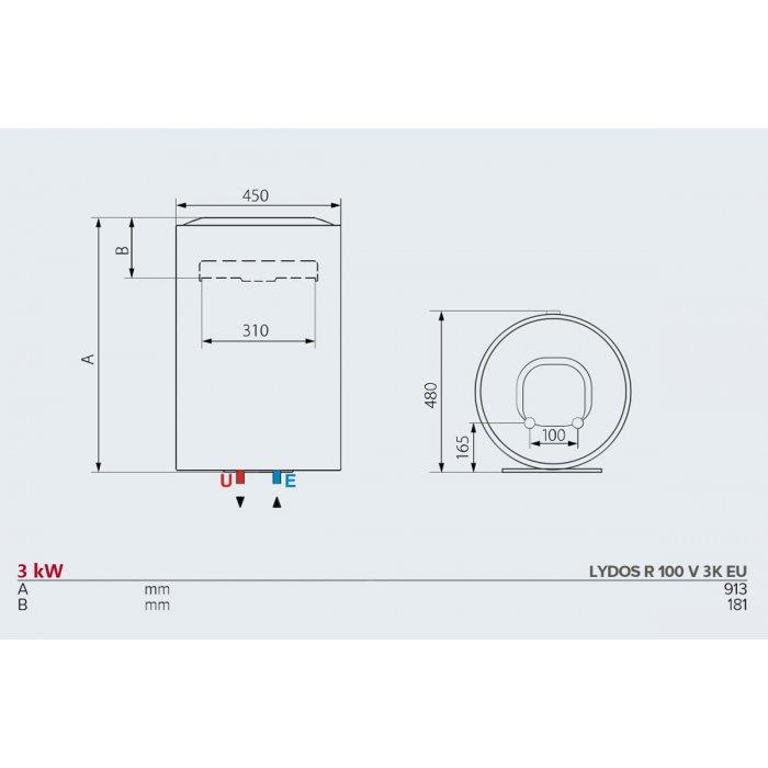 Вертикален бойлер Ariston LYDOS R 100 V 3K EU
