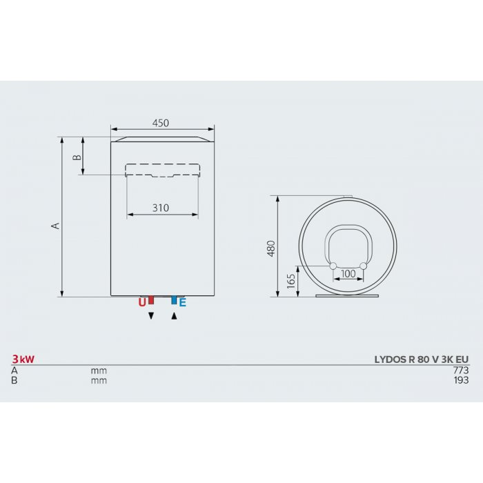 Вертикален бойлер Ariston LYDOS R 80 V 3K EU