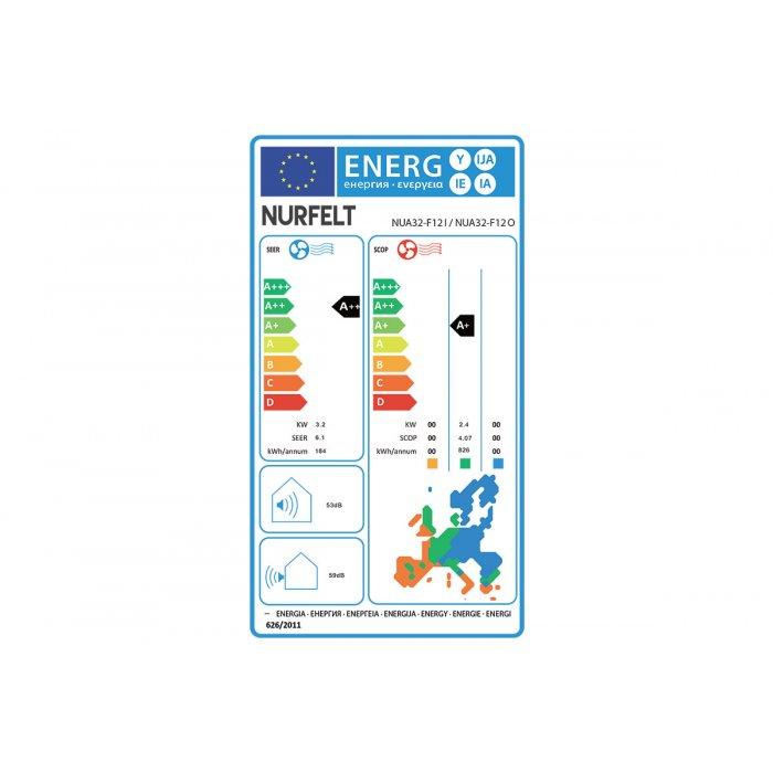 Инверторен климатик Nurfelt NUA32-F12I/NUA32-F12O, 12000 BTU, Клас A++